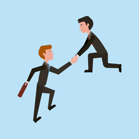 business man helping colleague or friend climbing leadership teamwork vector illustration