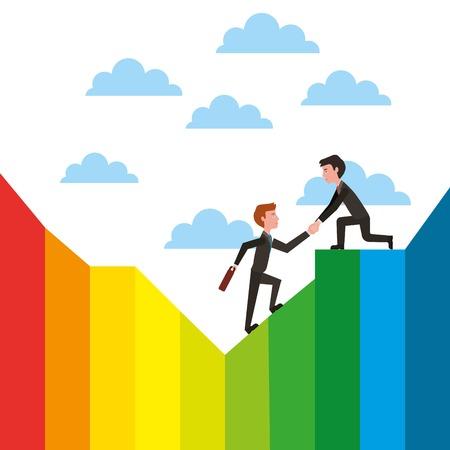 Business man helping colleague or friend climbing leadership teamwork vector illustration Stock Vector - 101111537