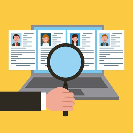 Job recruitment finding people resume on laptop vector illustration