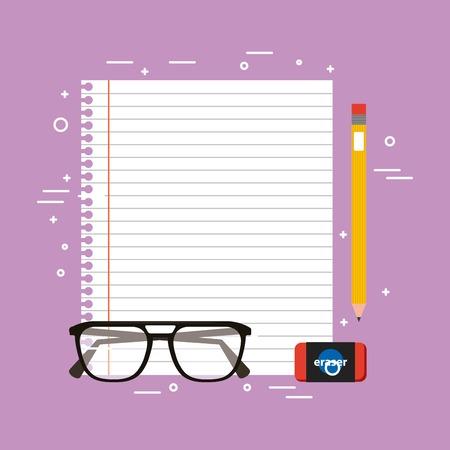 Paper sheet pencil eraser and glasses vector illustration
