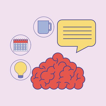 Human brain knowledge idea plan learning education vector illustration