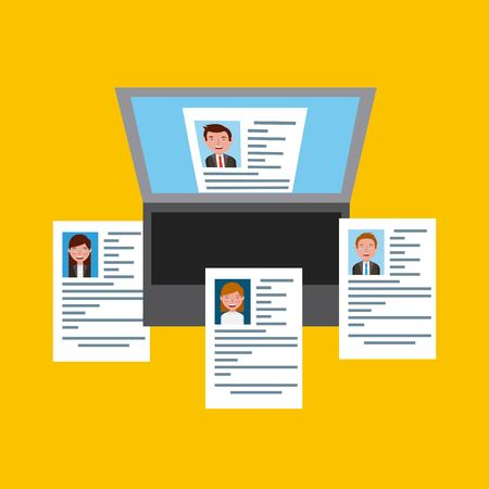 Job recruitment options curriculum on laptop online vector illustration