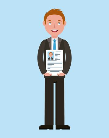 Man character holding her resume for work vector illustration