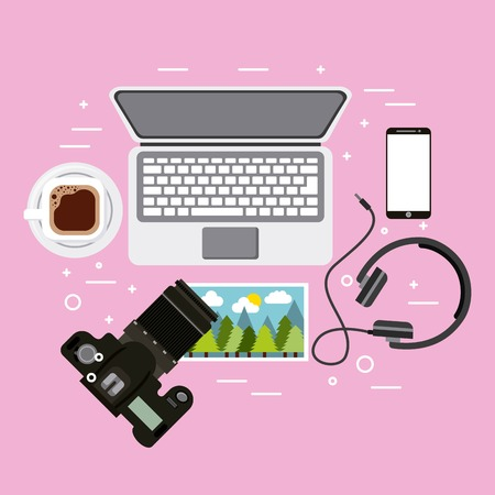 Laptop photographic camera headphones smartphone photo and coffee cup vector illustration