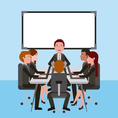 meeting business people teamwork office working sitting conference table vector illustration