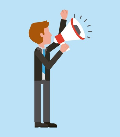 Businessman holding megaphone marketing strategy vector illustration