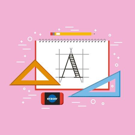 Designer notebook triangle ruler eraser and pencil tools vector illustration Standard-Bild - 101111384