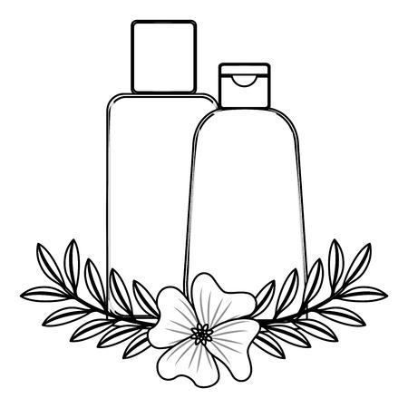 set bottles products beautiful with floral decoration vector illustration design Иллюстрация