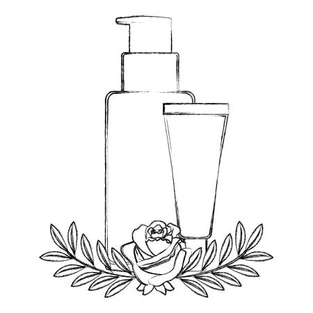 set bottles products beautiful with floral decoration vector illustration design Ilustração
