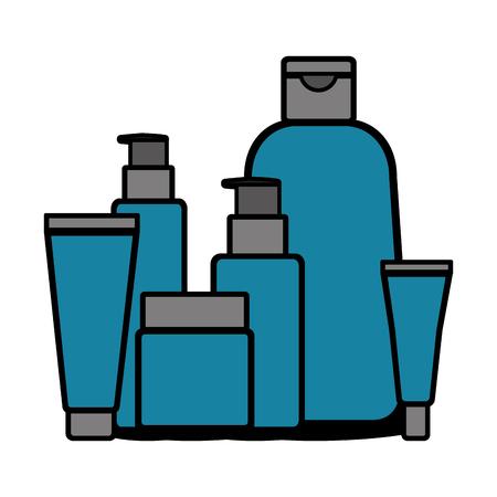 Set bottles products beautiful vector illustration design