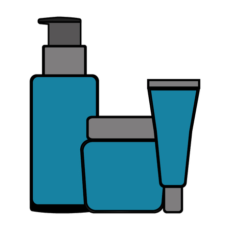 Set bottles products beautiful vector illustration design