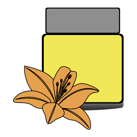 pot plastic of beautiful product with floral decoration vector illustration design