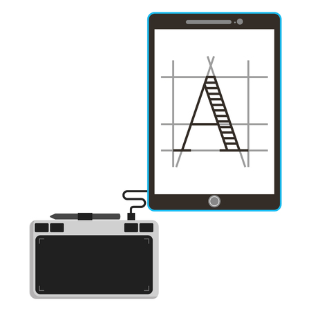 Tablet pad with display device electronic vector illustration design