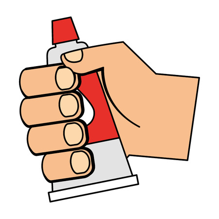 Hand with bottle glue isolated icon vector illustration design Illustration