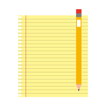Sheet notebook with pencil isolated icon vector illustration design