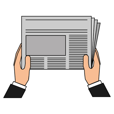 Hands reader with newspaper daily vector illustration design