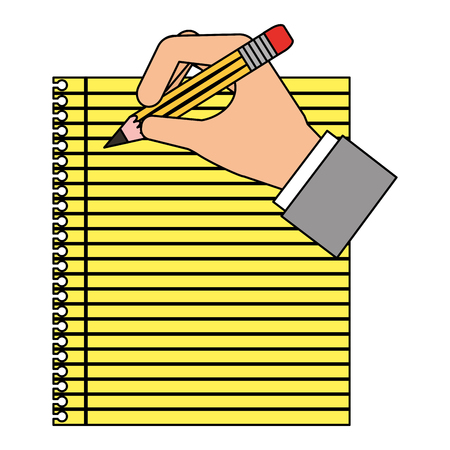 Sheet notebook with hand and pencil isolated icon vector illustration design