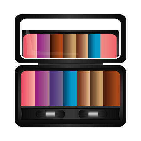 Palette eyeshadows with mirror femenine make up vector illustration design