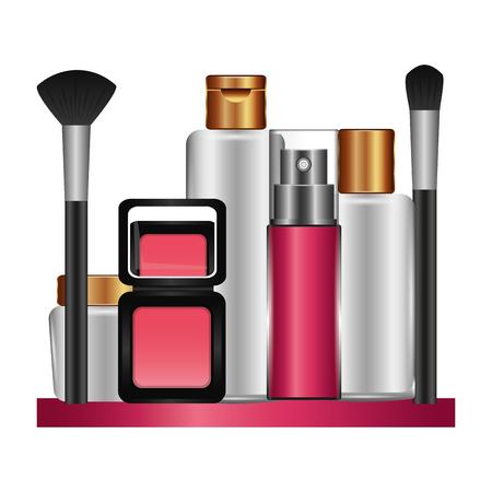 Shelf with accessories female make up vector illustration design  イラスト・ベクター素材