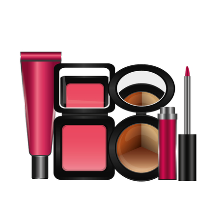 Shelf with accessories female make up vector illustration design Stock fotó - 101114979