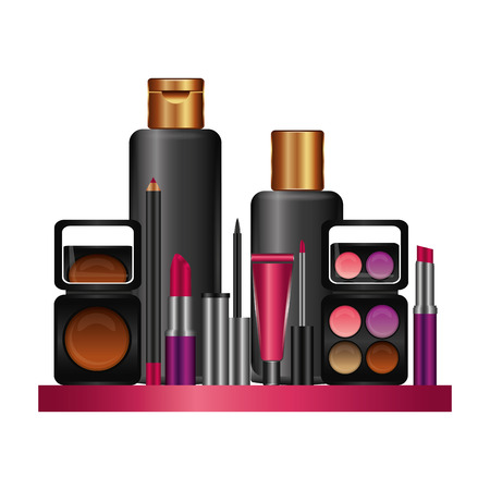 Shelf with accessories female make up vector illustration design Standard-Bild - 101114980