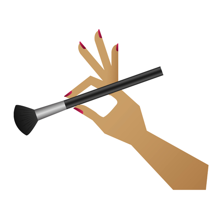 Hand with makeup brush isolated icon vector illustration design Illustration