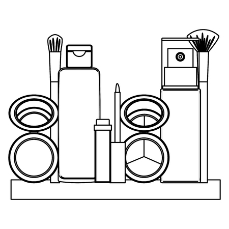 cosmetic makeup products fashion set vector illustration thin line Illustration