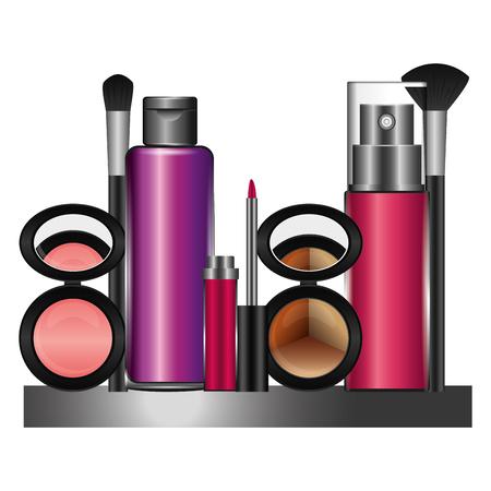 Shelf with accessories female make up vector illustration design Illustration