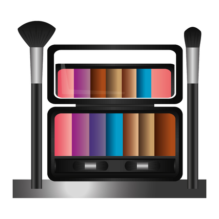 shelf with palette eyeshadows and brushes femenine make up vector illustration design