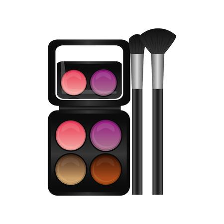 Palette eyeshadows with brushes femenine make up vector illustration design Çizim