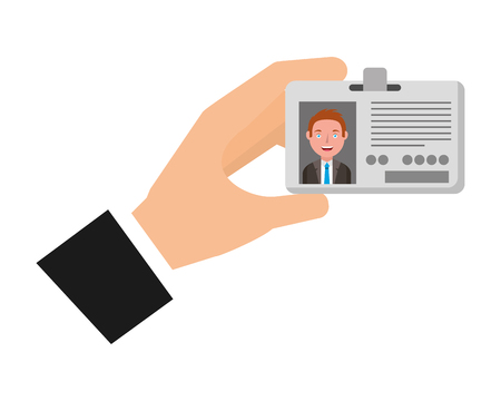 hand journalist with id card icon vector illustration design Çizim