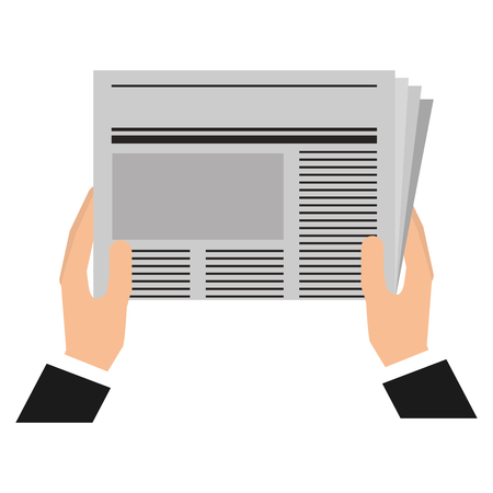 hands reader with newspaper daily vector illustration design 向量圖像