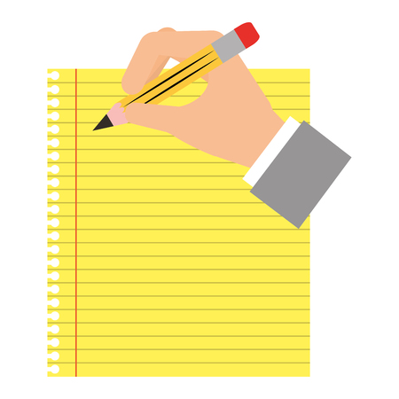 sheet notebook with hand and pencil isolated icon vector illustration design Illustration