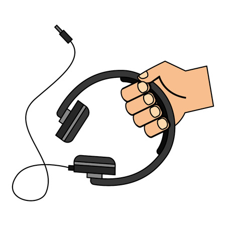 hand with headphone device isolated icon vector illustration design