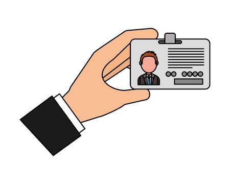 main tenant l & # 39; illustration vectorielle de carte d & # 39; identité
