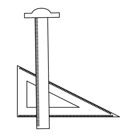 règle tsquare et triangle dessinant des fournitures d'art illustration vectorielle fine ligne Vecteurs