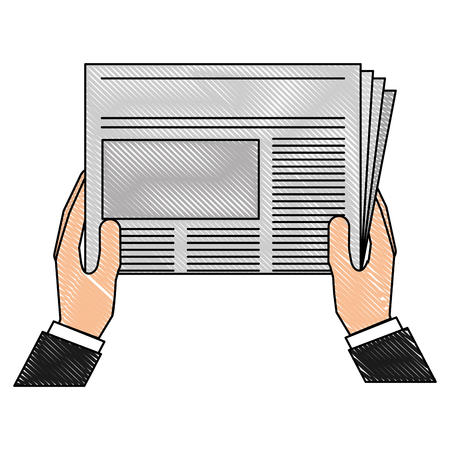Hand holding newspaper business daily vector illustration drawing