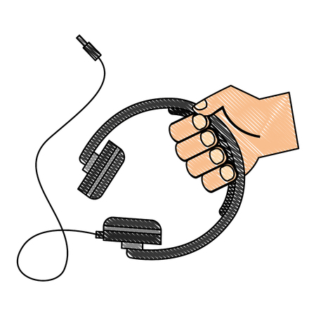 Hand holding headphones cable device vector illustration drawing