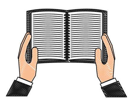 Open book in the hands of male vector illustration drawing Ilustrace