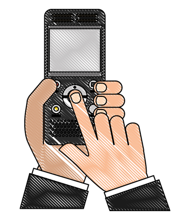 Hands using music player mp3 device vector illustration design