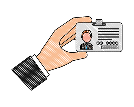 Hand journalist with id card icon vector illustration design