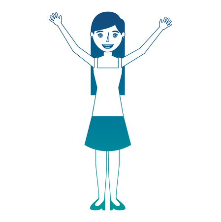 Happy young woman standing raised arms character vector illustration neon color Çizim