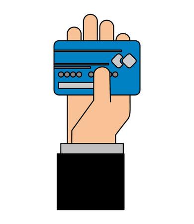 Hand holding bank credit card vector illustration Illustration