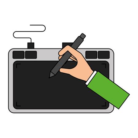 Hand designer table digital pen vector illustration Illustration
