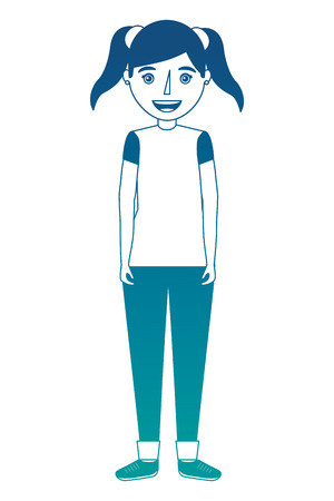 Happy girl standing character with ponytails vector illustration neon color Standard-Bild - 101115025