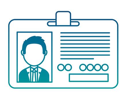 Carte d'identité d'entreprise employé photo illustration vectorielle couleur néon