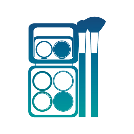 Container cosmetic makeup palette eyeshadow and brush vector illustration neon color