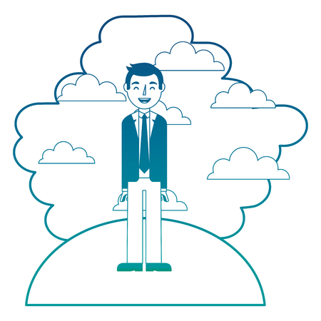 Man standing in landscape clouds sky vector illustration neon color