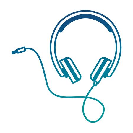 Headphones cable plug music volume vector illustration neon color
