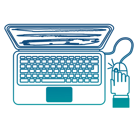 Laptop mouse cursor clicking technology vector illustration neon color Illustration